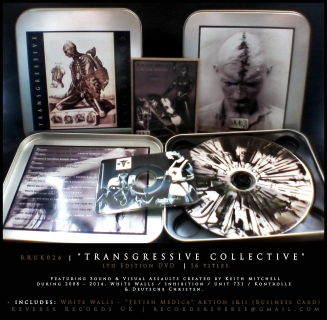 "RRUK024 | TRANSGRESSIVE COLLECTIVE (DVD) | DVD x1 | Business Card x1 | Ltd Edition | Featuring the first installment of visual sound actions by UK sound artist: K. Mitchell. Also includes unreleased audio & visual by White Walls / Inhibition / Deutsche Christen. DVD Presented in a Steel Box / Including rare business card single EP by White Walls - ""Fetish Medica"" [Aktion I & II]"